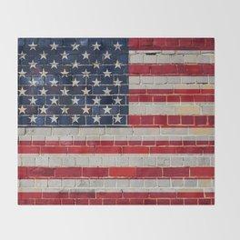 America flag on a brick wall Throw Blanket