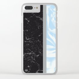 Light Blue Flower Meets Gray Black Marble #4 #decor #art #society6 Clear iPhone Case