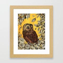 Tawny Owl Yellow Framed Art Print