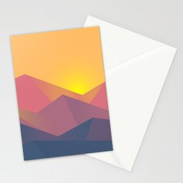 Sunset Mountains Polygons Stationery Cards