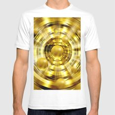 Abstract fantasy painting in gold. White MEDIUM Mens Fitted Tee