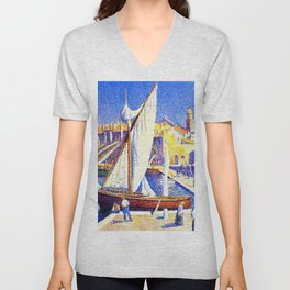 Port of Saint-Tropez, Cote d'Azur French Riviera by Maximillion Luce Unisex V-Neck