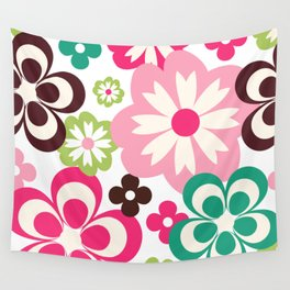 Big And Small Abstract Colorful Flowers Pattern Wall Tapestry