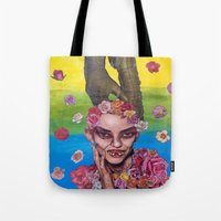 death cab for cutie Tote Bags featuring cutie by madild