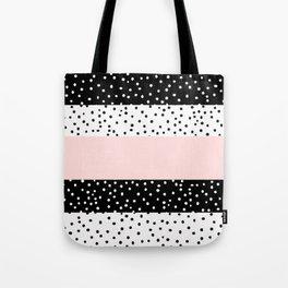 Modern black white blush pink polka dots Tote Bag
