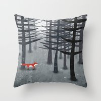 woodland Throw Pillows featuring The Fox and the Forest by Nic Squirrell