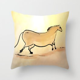 Ancient horse of Lascaux Throw Pillow