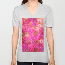 Pink and Red Vintages Roses So Shabby Chic Unisex V-Neck