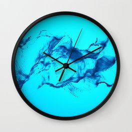 Blue Halftone Waves Wall Clock