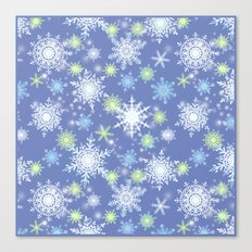 white , delicate snowflakes on a light blue background. Canvas Print