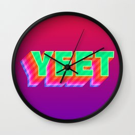 YEET Meme Colorful Typography Wall Clock