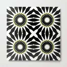 Black White Yellow Pinwheel Flowers Metal Print
