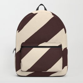Antique White and Coffee Brown Diagonal Stripes Backpack