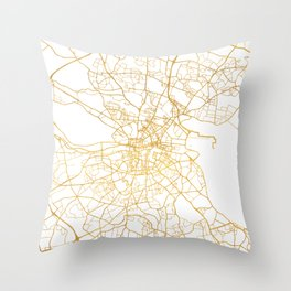DUBLIN IRELAND CITY STREET MAP ART Throw Pillow