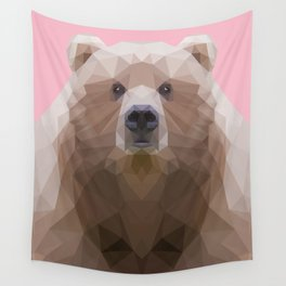 Low poly bear on pink background Wall Tapestry