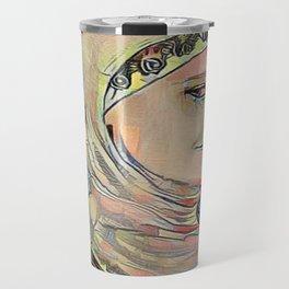 Hooded Girl Watercolor Digitized Travel Mug