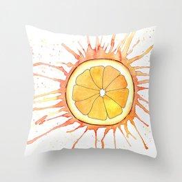 Splash Orange Slice Watercolor Painting Throw Pillow