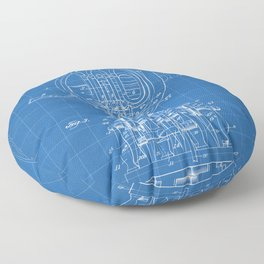 French Horn Patent - Horn Player Art - Blueprint Floor Pillow