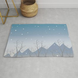 Winter landscape with trees Rug