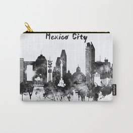 Black and White Mexico City Skyline Carry-All Pouch