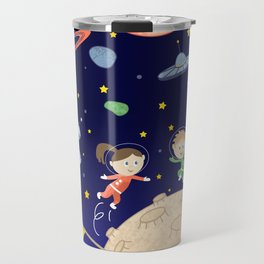 Space kids astronauts planets asteroids and spaceships Travel Mug