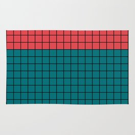 Red turquoise  plaid Rug