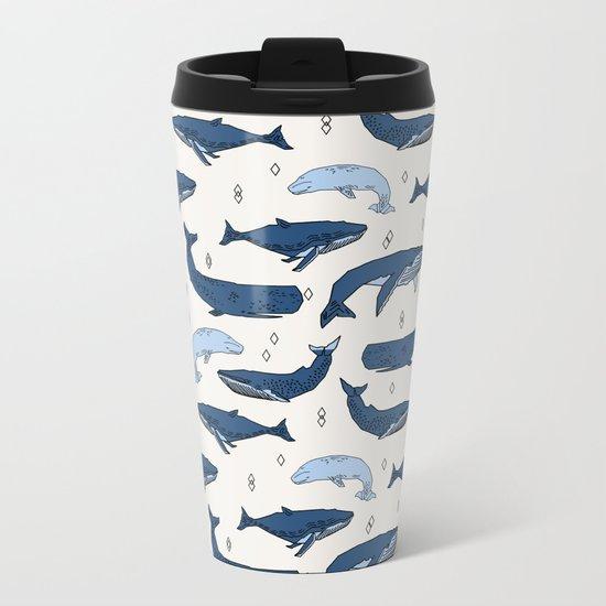 Whales by Andrea Lauren Metal Travel Mug