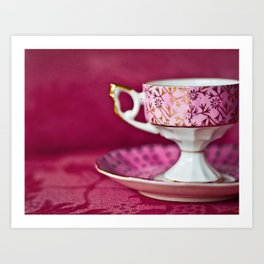 Antique Pink Cup and Saucer Art Print