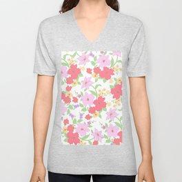 Botanical lavender coral gold mint green floral Unisex V-Neck
