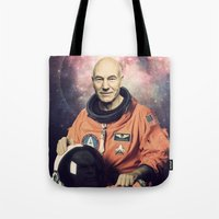 picard Tote Bags featuring Captain Picard - Astronaut in Space by Nicholas Redfunkovich