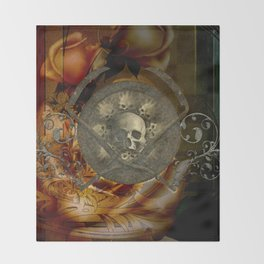 Awesome, creepy skulls, vintage design Throw Blanket