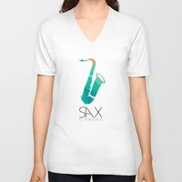 saxophone V-neck T-shirts featuring SAXophone by Onie O