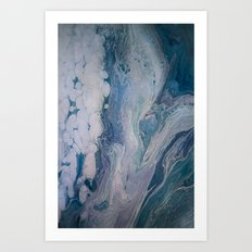 Purple, Blue, and White Abstract Fluid Acrylic Painting 2 Art Print
