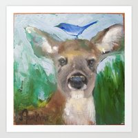 Deer with Blue Jay Art Print