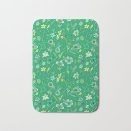 Verdant Flowers on Emerald Background Bath Mat