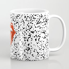Lips Rock and Roll on Black and White Speckles  Coffee Mug