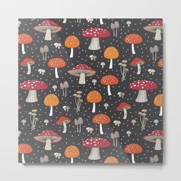 Funghi - Gray Metal Print