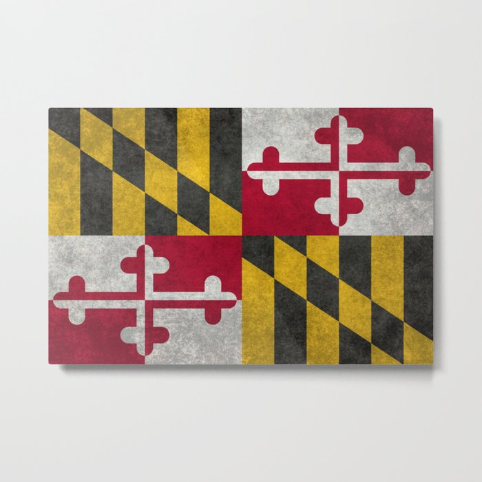 State flag of Flag of Maryland, Vintage retro style Metal Print