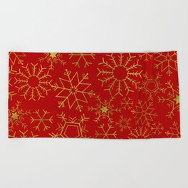 Red and gold snowflakes Beach Towel