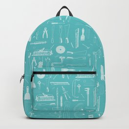 Abstract Workshop tools turquoise Backpack