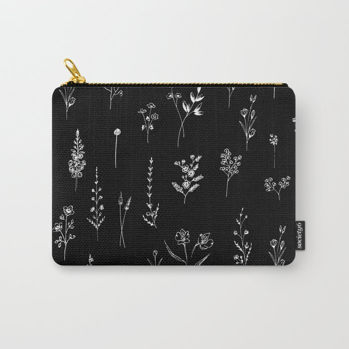 Black wildflowers Carry-All Pouch