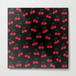 Cherries 2 (on black) Metal Print