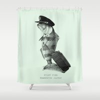 pilot Shower Curtains featuring The Pilot (colour option) by Eric Fan