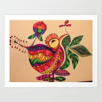 birdy Art Prints featuring Birdy  by Petra Meinert