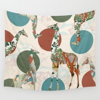 polka Wall Tapestries featuring Giraffe Polka by Paula Belle Flores