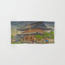 Rain in Higashi-Honganji Temple, Kyoto Asano Takeji Japanese Woodblock Print Hand & Bath Towel