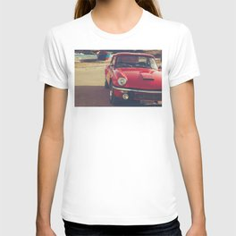 Triumph spitfire, english car by the beach in italy, old car and a boat, for man cave decor T-shirt