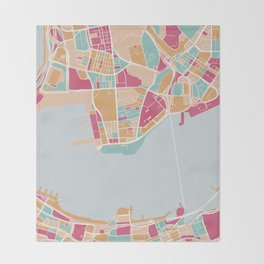 Hong Kong map Throw Blanket