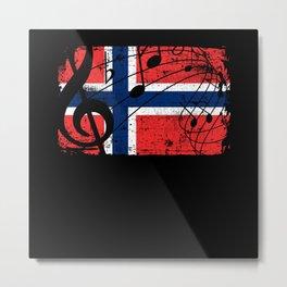 Norway Music Flag Metal Print