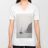 sailboat V-neck T-shirts featuring Sailboat by Leonor Saavedra